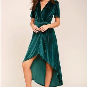 Lulu's Green Velvet High-Low Wrap Dress - S
